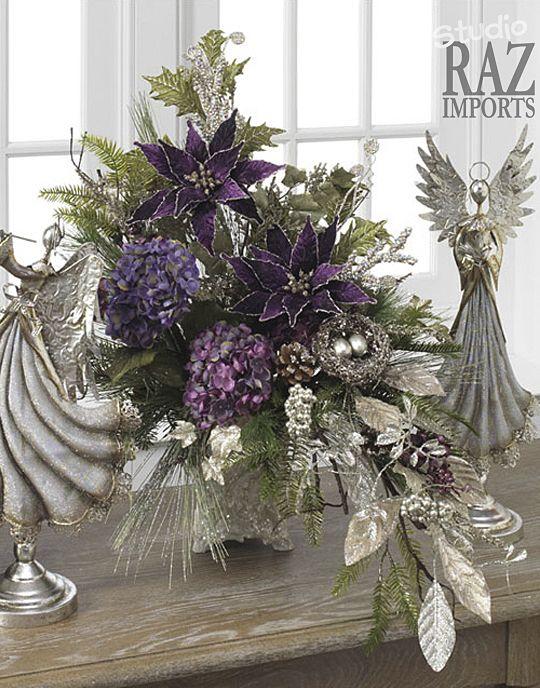 arreglo navideno en salones color violeta 2018 2