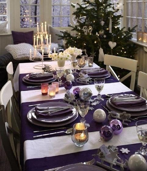 arreglo navideno violeta para comedor 2018