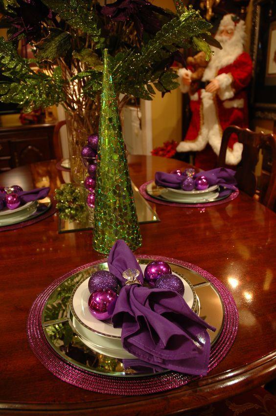 arreglo navideno violeta para comedor 2018 2