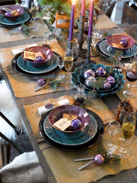 arreglo navideno violeta para comedor 2018 6