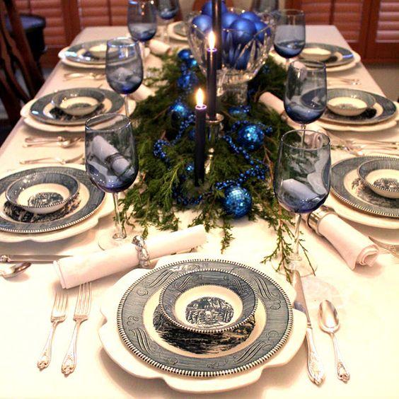 arreglos navidenos para comedores en azul cobalto 2018 5