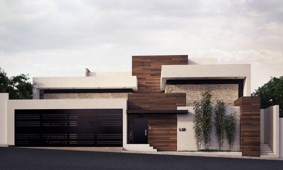 Bardas modernas 100 ideas para a adir una barda a tu hogar for Casa minimalista rojo