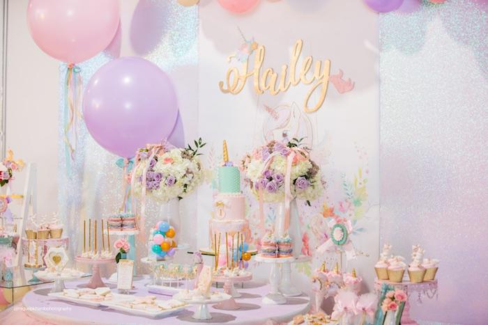 Como decorar fiesta unicornio primer ano de nina 5 - Decoracion primer cumpleanos ...