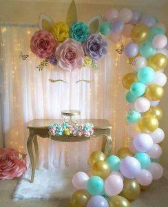Decoracion de cumpleaños de unicornios