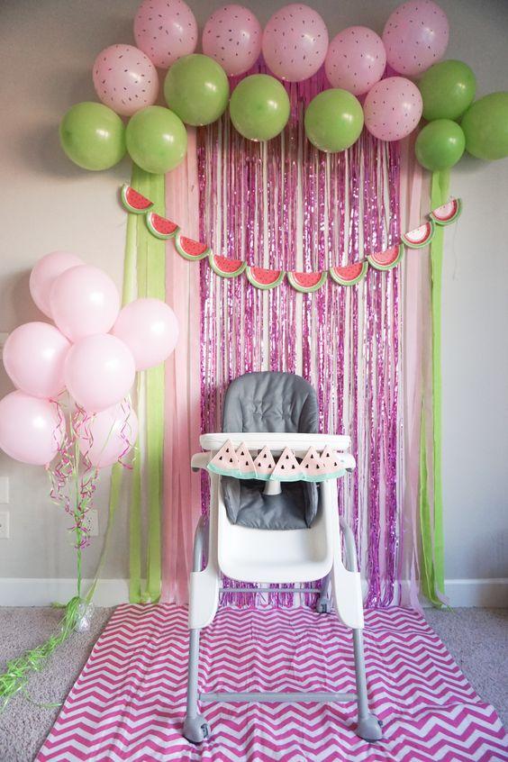 Decoracion sencilla para fiesta de primer ano nina 1 for Decoracion bebe nina