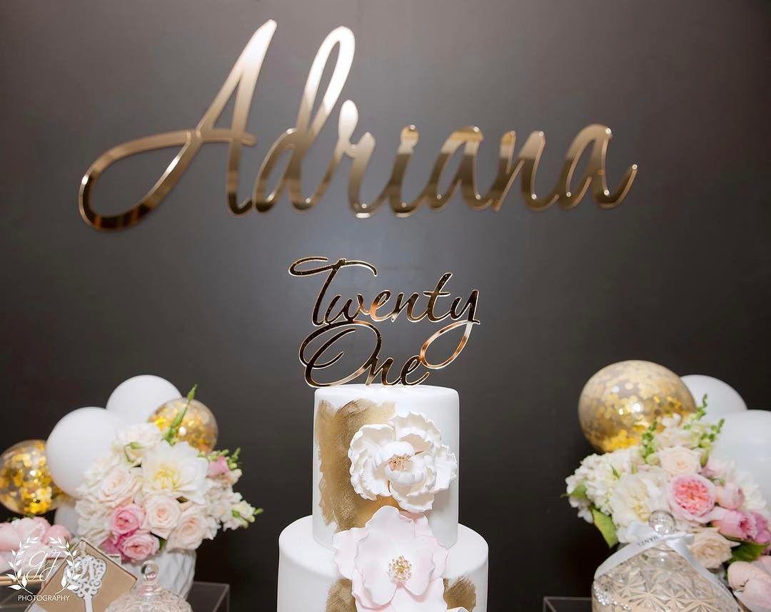 letrero modernos para pastel corte laser dorado 2