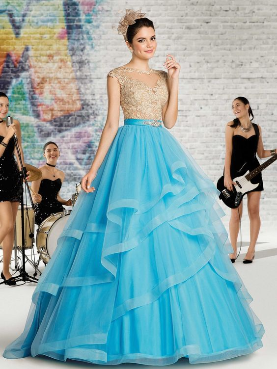 Vestidos de 15 años desmontablescolor azul