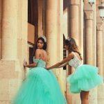Vestidos de 15 años desmontablesverde agua