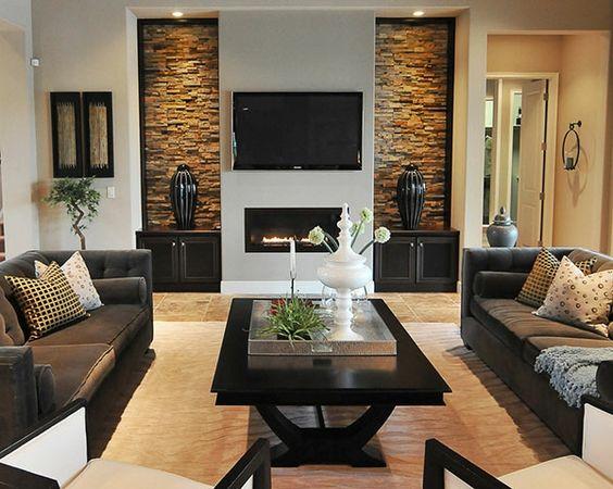 Acabados para paredes de sala como organizar la casa for Decoracion de casas modernas y elegantes