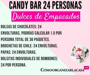 Candy bar 24 personas cantidad de dulces empacados