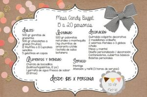 cantidad de dulces para mesa de dulces 15 - 20 personas