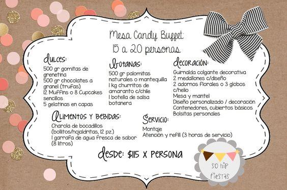 cantidades exactas para mesa de dulces 15 - 20 personas