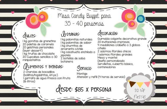 cantidad de dulces para mesa de dulces 35 - 40 personas