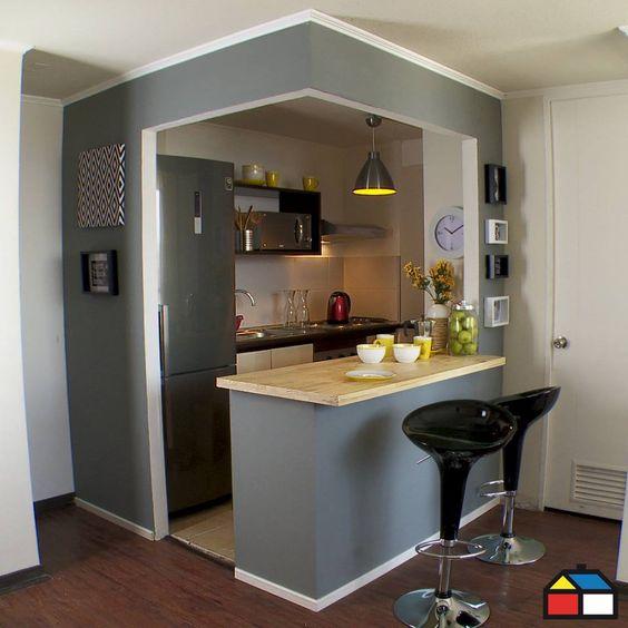 Cocinas peque as con barra decoracion de interiores Cocinas pequenas con barra
