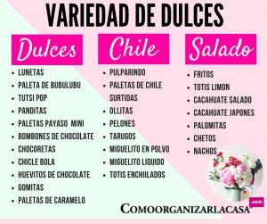 variedad para mesa de dulces