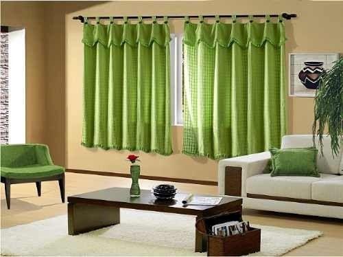 Cortinas modernas verdes.6   Decoracion de interiores Fachadas