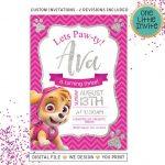 Invitaciones para fiesta de paw patrol para niña2