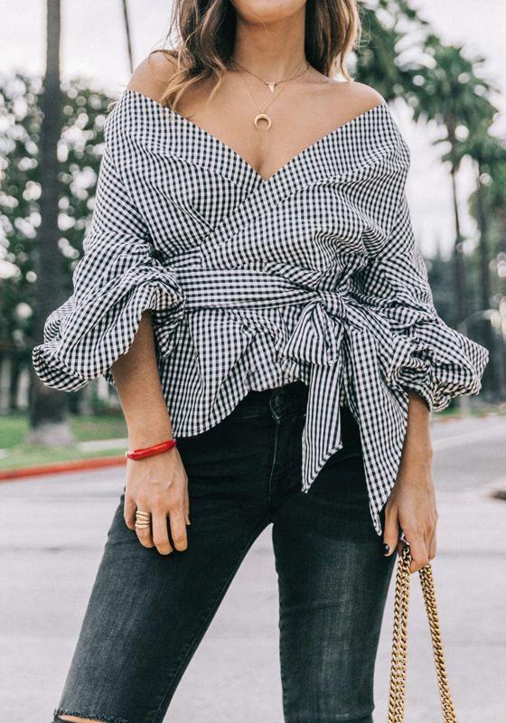 blusas o vestidos en cuello v para lucir delgadas y altas 2