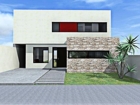 fachadas modernas con piedra