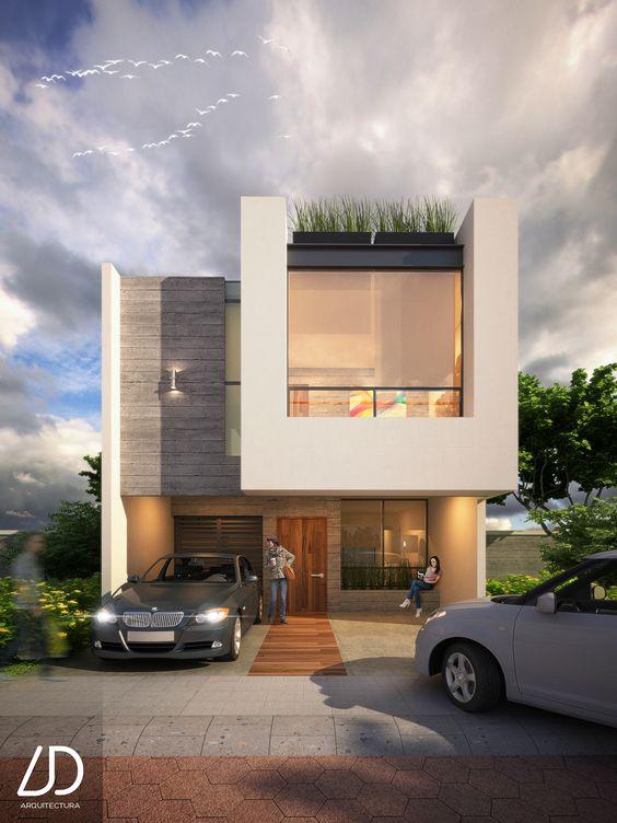 fachadas modernas de casas de dos pisos