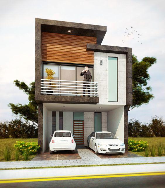 fachadas de casas de dos pisos