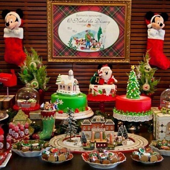 Decoración de mesas de dulces navideñas