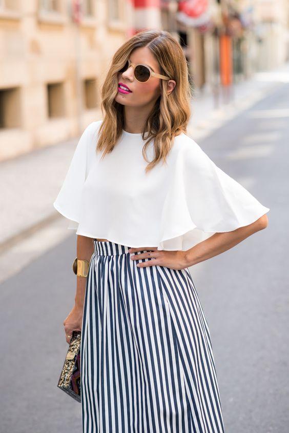 outfit con rayas verticales para verse mas delgada