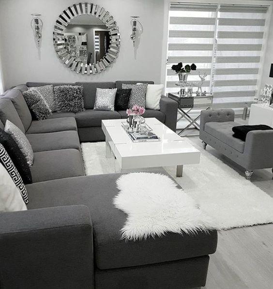 Decoración de salas pequeñas color gris
