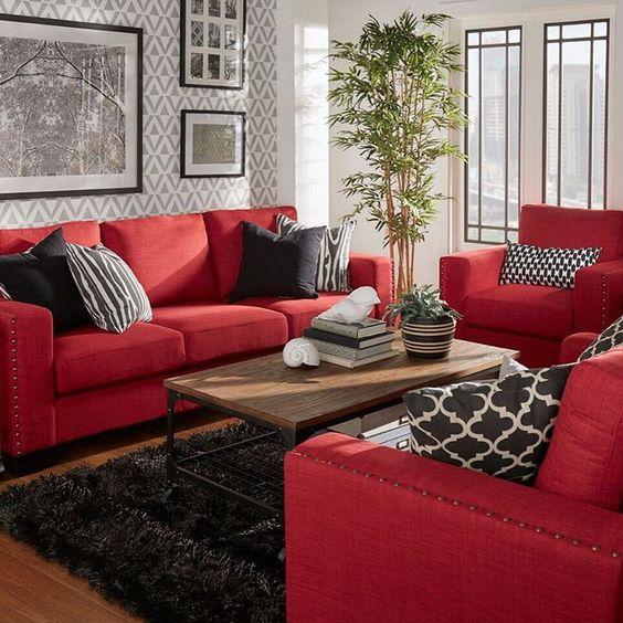 Decoración de salas pequeñas color rojo