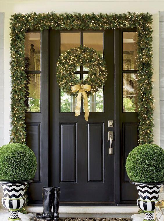 Decoraciones navideñas para la entrada de tu casa