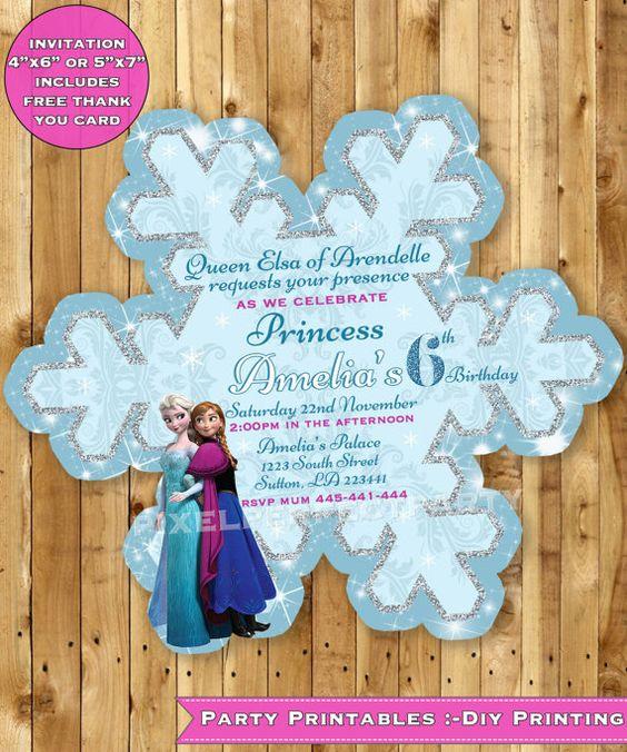 Invitaciones De Frozen Modernas Para Imprimir O Fáciles