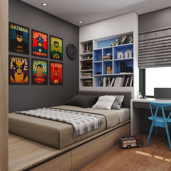 Dormitorios juveniles peque os modernos y originales para for Decoracion de cuartos para jovenes hombres