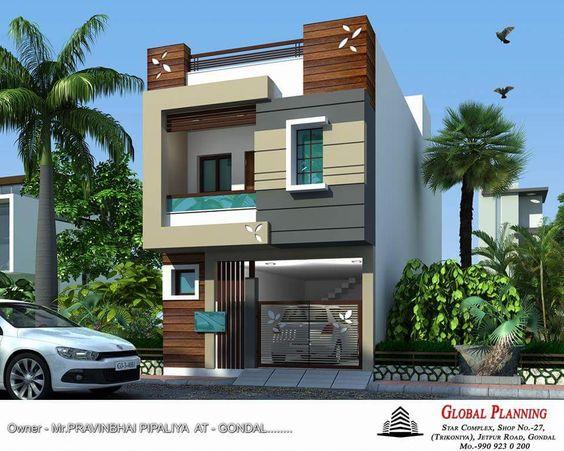 fachadas de casas de dos pisos con 6 metros al frente de