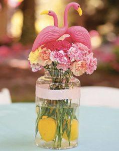 Centros de mesa de flamingos