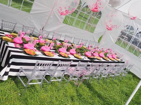 Fiesta de cumpleaños de flamingos