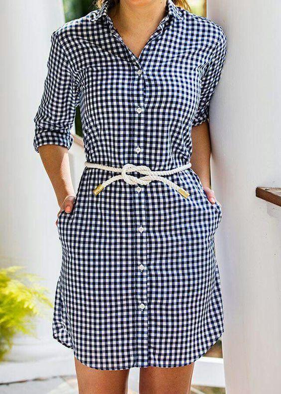 vestidos camiseros de cuadros
