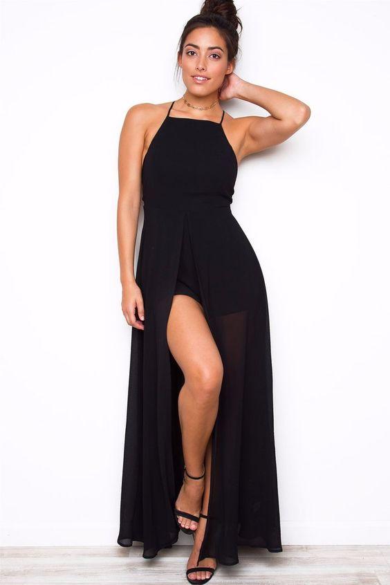 maxi vestidos con shorts lisos 3