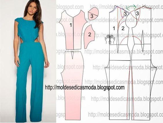 b89698ab2bab Moldes de monos para mujeres | Patrones de jumpsuits de moda