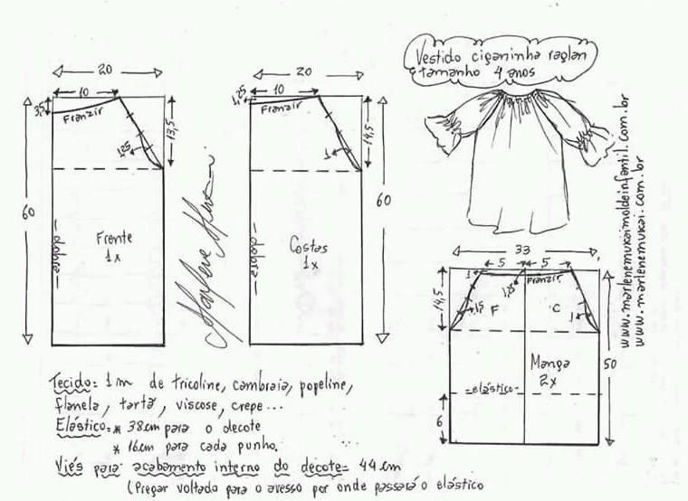 Como hacer un patrón de vestido de niña de 4 años