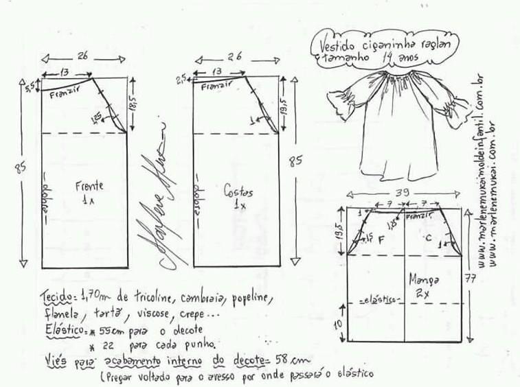 Moldes para vestidos de niña de 14 años