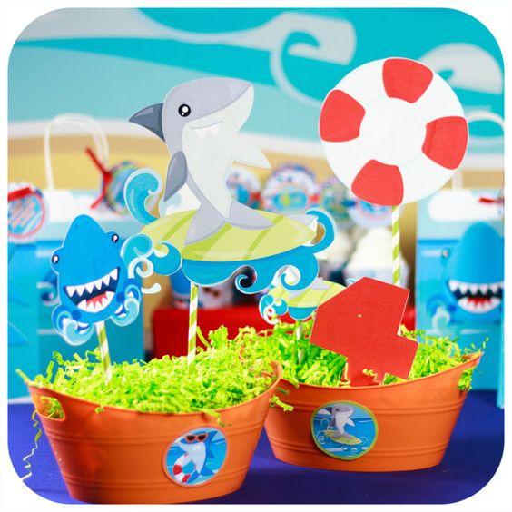 centros de mesa para fiesta de baby shark party