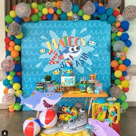 decoracion para fiesta de baby shark