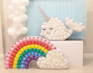 decoraciones de mesa de unicornio con globos tecnica mosaico