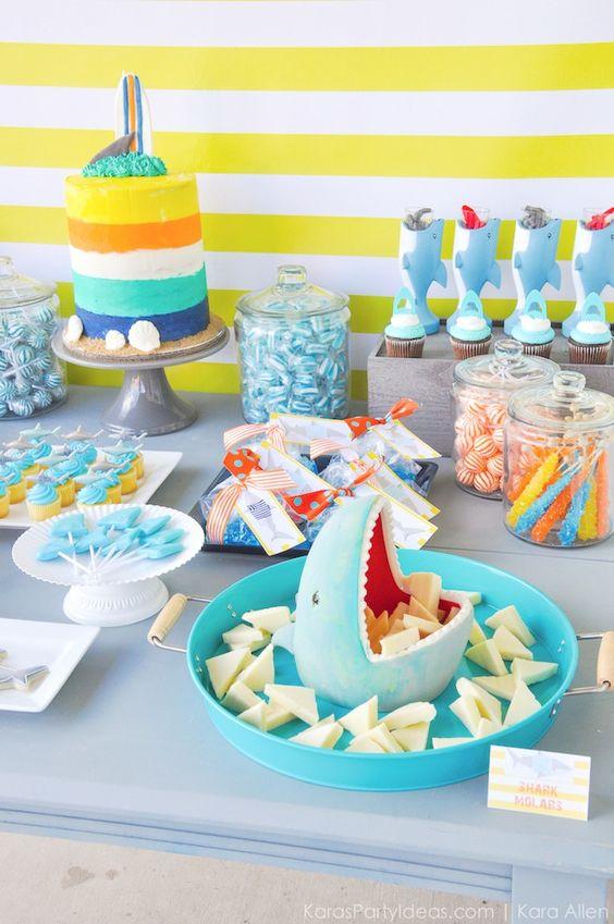 ideas para la mesa de dulces de baby shark