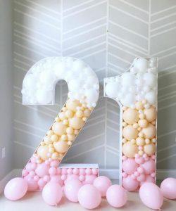 numeros decorados con globos tecnica mosaico