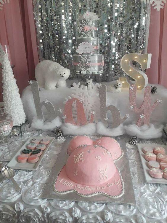 Pasteles para baby shower en invierno