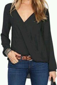 bluzas cruzadas en color negro 2019