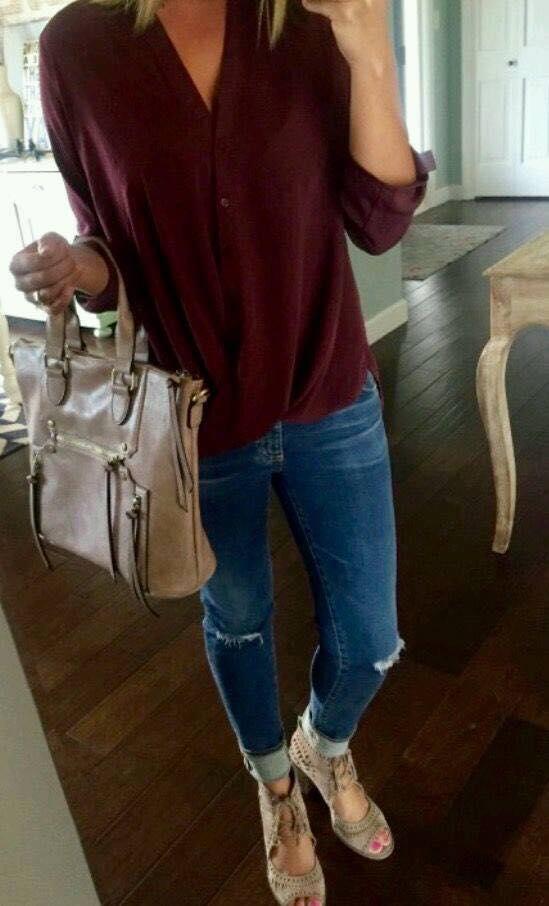 Blusas cruzadas en color tinto 2019