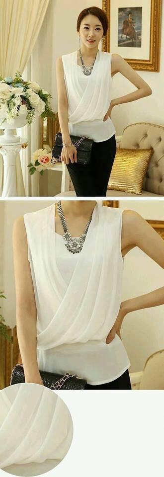 Diseño de blusas cruzadas para mujeres color blanco
