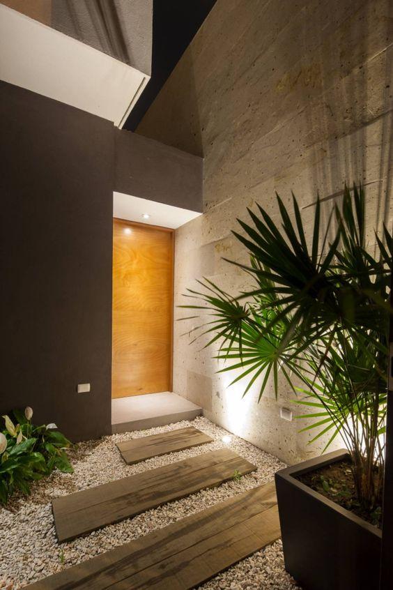 recibidores modernos con piedra